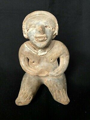 Pre-Columbian MAYA Seated Pregnant Female Figure, 500 BC - 350 AD. FREE SHIPPING