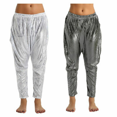 Women Girls Trousers Shiny Sparkly Hip Hop Clubwear Jazz Dance Party Harem Pants