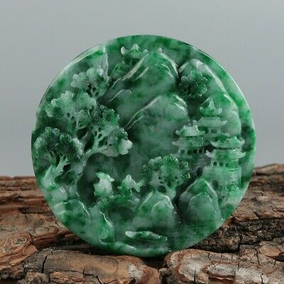 Chinese Exquisite Hand-carved landscape people Carving jadeite jade Pendant