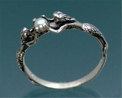 Beautiful  Two Mermaids Holding Pearl .925 Sterling Silver Overlay Ring 7