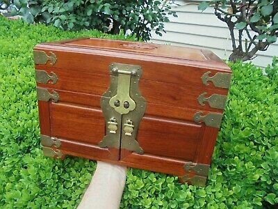 Large Vintage Mahogany Brass Fitted Jewellery Box Chest