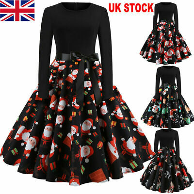 UK Vintage Womens Christmas Swing Dress Xmas Long Sleeve Party Skater Dress 8-22