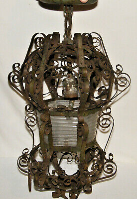 """Antique WROUGHT IRON Hanging CEILING LIGHT W/ Original RIBBED GLASS 18"""" Long"""