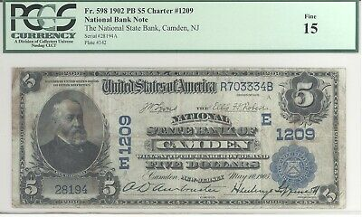 National State Bank of Camden New Jersey $5  PCGS F15  No Reserve
