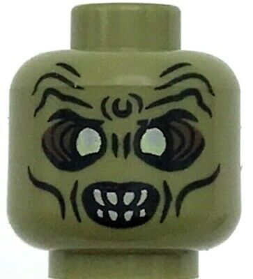 Lego Minifigure Head Alien with Red Eyes and Lower Fangs Pattern  #81