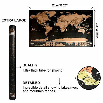 82cmX59cm Extra Large Scratch Off World Map Detailed with Cities Capitals States