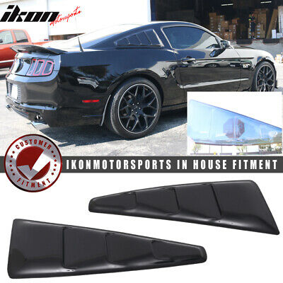 Painted Matte Black Fits 10-14 Ford Mustang Rear Quarter Window Louver Covers