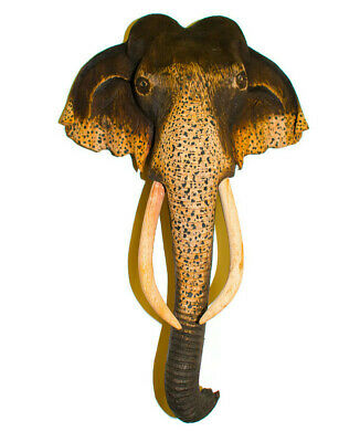"""8"""" Hand-Carved Elephant Figurine Wooden Sculpture Wall Hanging Home Decor Gift"""