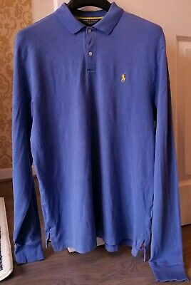 Mens Ralph Lauren Polo Golf Long Sleeve Polo Shirt Size Large (Pit to pit 60cm)