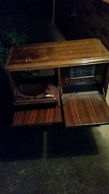 Antique Vinyl LP player and SW radio cabinet in one.
