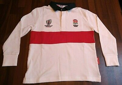 Children's England Rugby Shirt Rugby World Cup Japan 2019 White Long Sleeve