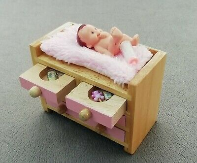 Miniature Dolls Furniture - Dressed Wooden Baby Changing Unit/Drawers.