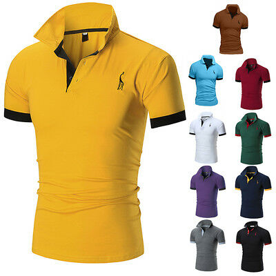 Mens Slim Fit Polo Shirts Long Sleeve Casual Golf T-Shirt Lapel Tops Jersey Tee