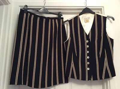 "Vintage ""Laurel"" Ladies Black & Cream Skirt With Matching Waist Coat Eu 40 Uk 12"