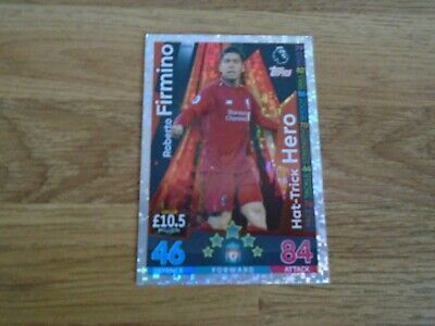 match attax 2018/19 roberto firmino/liverpool hat-trick hero cards