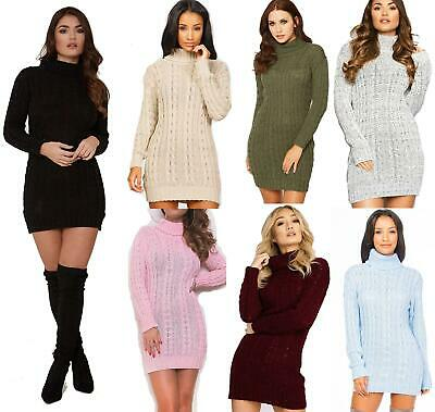 Womens Long Sleeve Cowl Polo Neck Cable Knitted Jumper Ladies Mini Dress