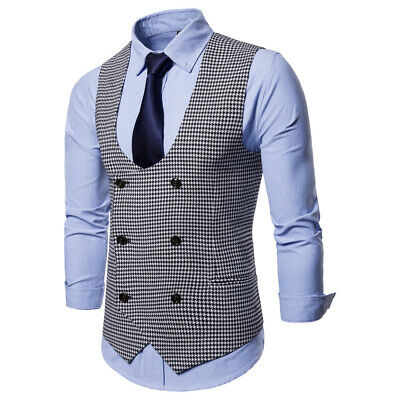 Mens Formal Business Work Vest Suit Waistcoat Slim Wedding Party Blazer Coat Top
