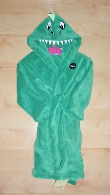 BNWT Marks and Spencer unisex green supersoft DRAGON hooded dressing gown
