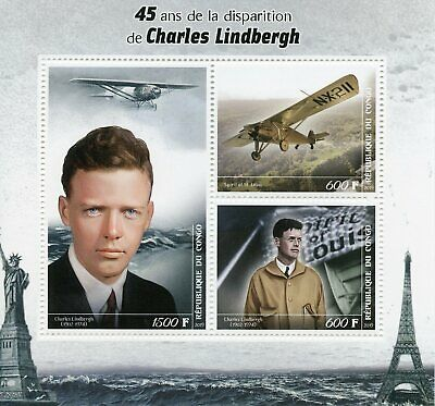 2019 MNH Charles Lindbergh 3v M/S Famous People Aviation Stamps