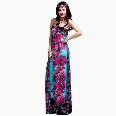 NEW Women Strapless Blue Red Purple Floral Halter Maxi Long Summer Dress S M L