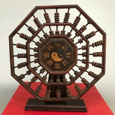 "9"" Chinese old Antique Tibet wood handmade Eight Diagrams Abacus statue"