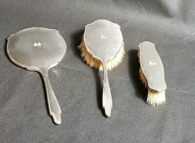 Beaitiful Art Deco Hallmarked Sterling Silver Hand Mirror set by W G Sothers