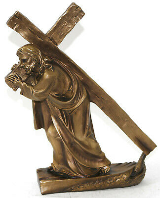 Detailed Handcrafted Beauty Jesus with Cross Faux Bronze Sculpture Figurine Sale