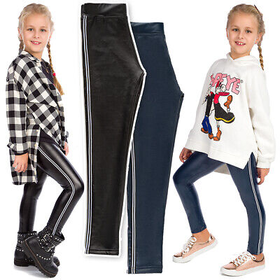 Girls Eco Leather Leggings Child Striped Pants Thick Trousers with Panel FS99K11
