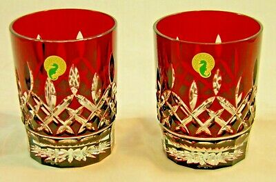 Pair Waterford Crystal Lismore Red Double Old Fashioned Etched Tumbler Glasses