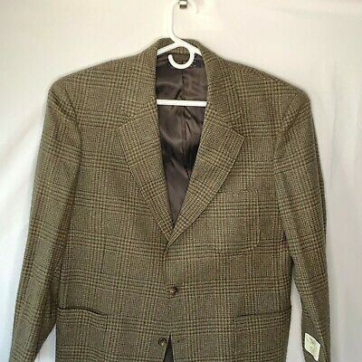 Brooks Brothers Men's 42 R Brown Glen Plaid Wool Two Button Lined Blazer NEW USA