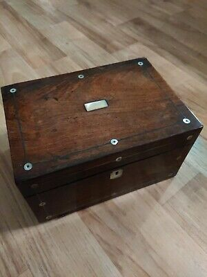 Vintage Old Desk Wooden Box Mother Of Pearl Inlays Secret Drawer Writing...