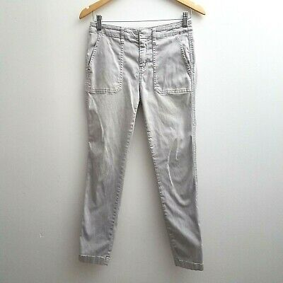 J Crew Women's Pants Ankle Size 26 Light Gray Skinny Stretch Cargo  Slim