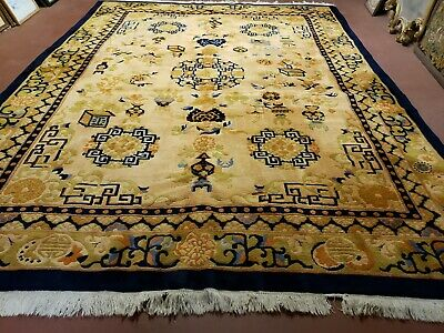 9' X 12' Hand Made Art Deco Aubusson Wool Rug 90 Lines Chinese Plush Pile Gold