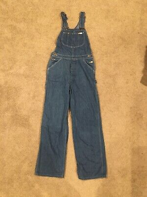 Vintage 70's Lee Denim Jeans Overalls Made In USA Button Fly Size 30 x 30 NST