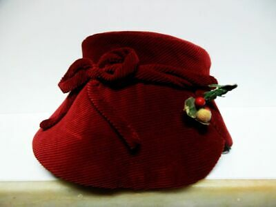 zauberhafter Kinderhut-Puppenhut-Kord-rot-1940-enchanting children hat-doll hat