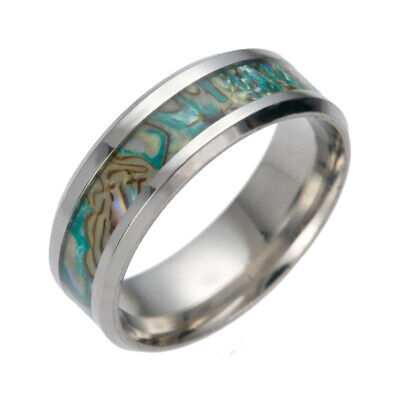 8MM Natural Band Ring Abalone Shell Men's Stainless Steel Silver Wedding Jewelry
