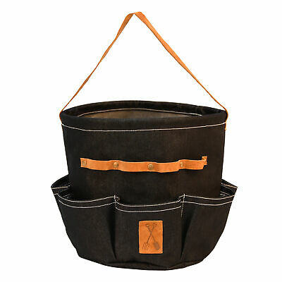 Round Denim and Faux Leather Garden Tool Bag