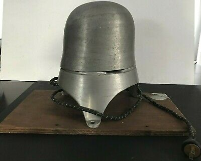 """Vtg Head Form Mold Aluminum Electric Hat Stretcher Block 21""""1/2 With Base Work"""