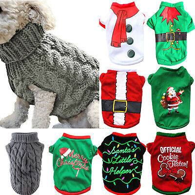 Xmas Small Puppy Dog Warm Cute Knitted Knitwear Jumper Sweater Pet Clothes Coat