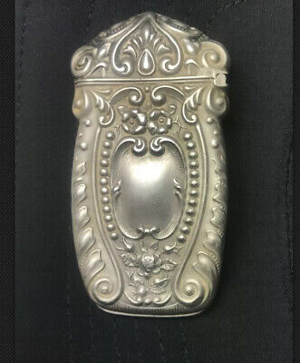 17g Solid Antique sterling silver .925 cigarette lighter match Box holder case