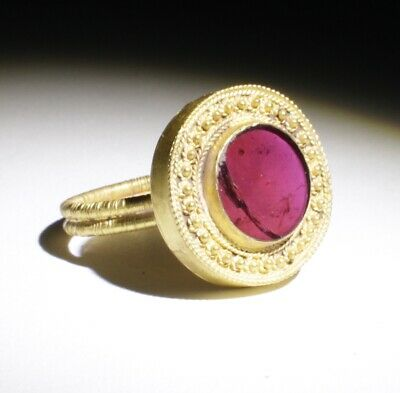 Superb Ancient Roman Gold & Garnet Ring  Circa-2Nd Ad