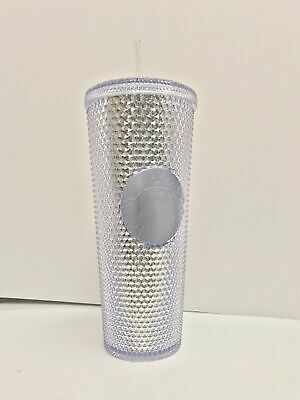Winter Holiday Starbucks 2019 24oz Silver Platinum Bling Studded Tumbler Cup