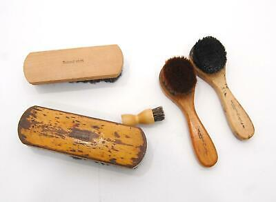Lot of 5 VTG Wooden 100% Horsehair Shoe Shine Polish Brush Empire National