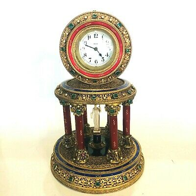 ANTIQUE 1900s New Haven Clock Co. Carved Bronze Semi Precious Stones Clock
