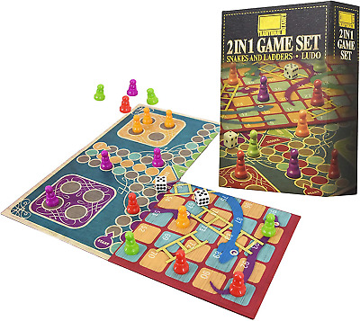 The Magic Toy Shop 2 in 1 Traditional Board Game Set - Snakes & Ladders and Ludo