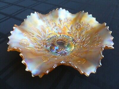 """Northwood Marigold Carnival Glass """"Good Luck"""" Bowl - Great!"""