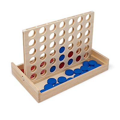 Luptons Four in a Row Wooden Board Game Folds Away Ideal For Travel and Family