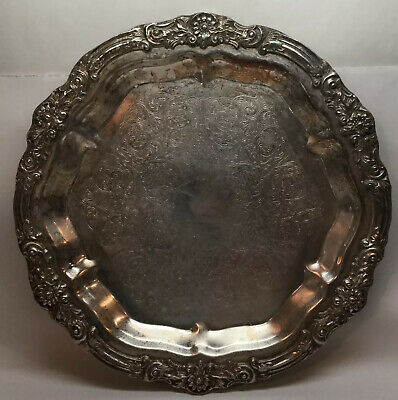 "FB Rogers Silver Co Silverplate Serving Tray Large 14.5"" Ornate Platter Vintage"