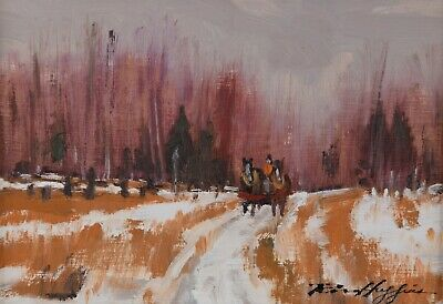 Ross Huggins Oil Painting Winter Landscape Horse and Cart Ontario Canadian