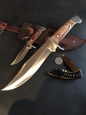 2 Knife Set, Leather Sheath And Gold Pocket Knife - Factory 2nd Clearance